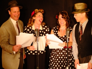 The cast of Twilight Radio Theatre in action